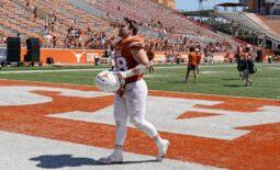 Apr 24, 2021; Austin, Texas, USA; Texas Longhorns linebacker Jake Ehlinger walks off the field after the Orange-White Texas Spring Game at Darrell K Royal-Texas Memorial Stadium. Mandatory Credit: Scott Wachter-USA TODAY Sports