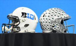 Jul 23, 2021; Indianapolis, Indiana, USA; A Big 10 helmet and Ohio State Buckeyes helmet are displayed during Big 10 media days at Lucas Oil Stadium. Mandatory Credit: Robert Goddin-USA TODAY Sports
