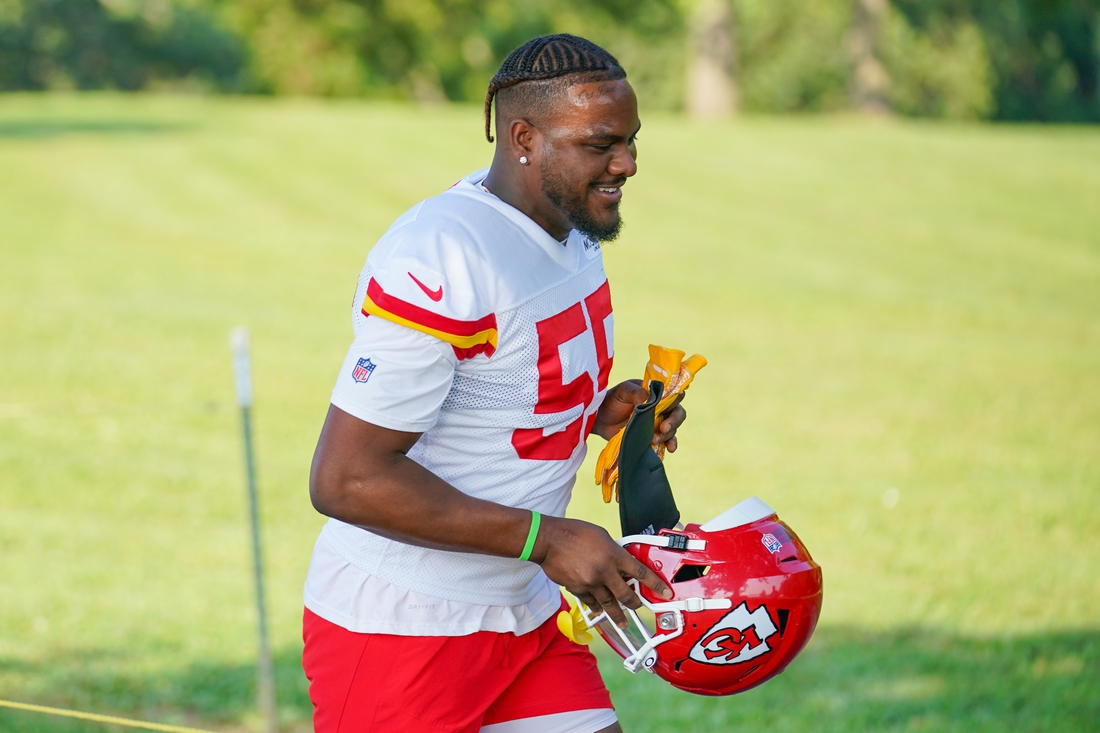 Jul 28, 2021; St. Joseph, MO, United States; Kansas City Chiefs defensive end Frank Clark (55) walks down the hill from the locker room to the fields during training camp at Missouri Western State University. Mandatory Credit: Denny Medley-USA TODAY Sports
