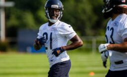 Jul 29, 2021; Lake Forest, IL, USA; Chicago Bears defensive back Desmond Trufant (21) talks with teammates during a Chicago Bears training camp session at Halas Hall. Mandatory Credit: Jon Durr-USA TODAY Sports