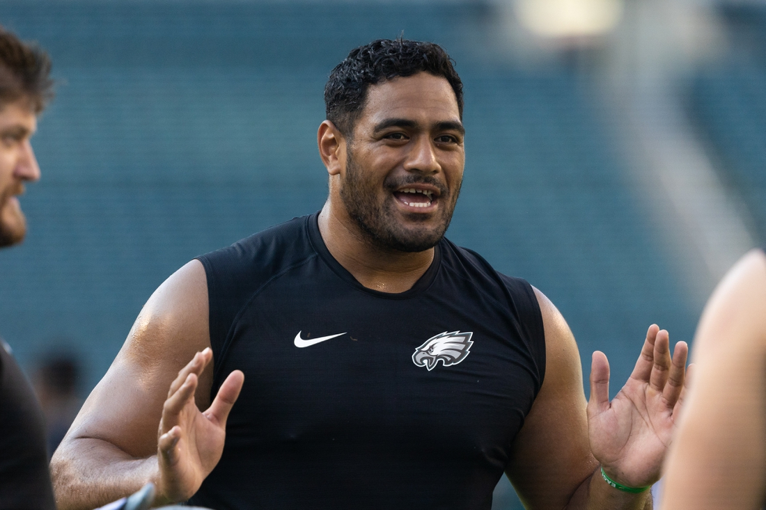 Aug 12, 2021; Philadelphia, Pennsylvania, USA; Philadelphia Eagles offensive tackle Jordan Mailata before action against the Pittsburgh Steelers at Lincoln Financial Field. Mandatory Credit: Bill Streicher-USA TODAY Sports