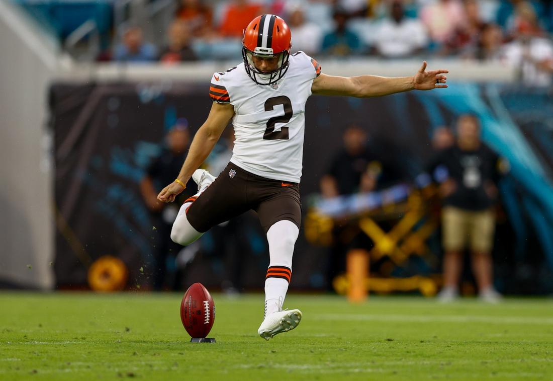 Aug 14, 2021; Jacksonville, Florida, USA;  Cleveland Browns kicker Cody Parkey (2) kicks off in the first quarter against the Jacksonville Jaguars at TIAA Bank Field. Mandatory Credit: Nathan Ray Seebeck-USA TODAY Sports