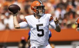 Aug 22, 2021; Cleveland, Ohio, USA; Cleveland Browns quarterback Case Keenum (5) throws the ball during the first quarter against the New York Giants at FirstEnergy Stadium. Mandatory Credit: Scott Galvin-USA TODAY Sports