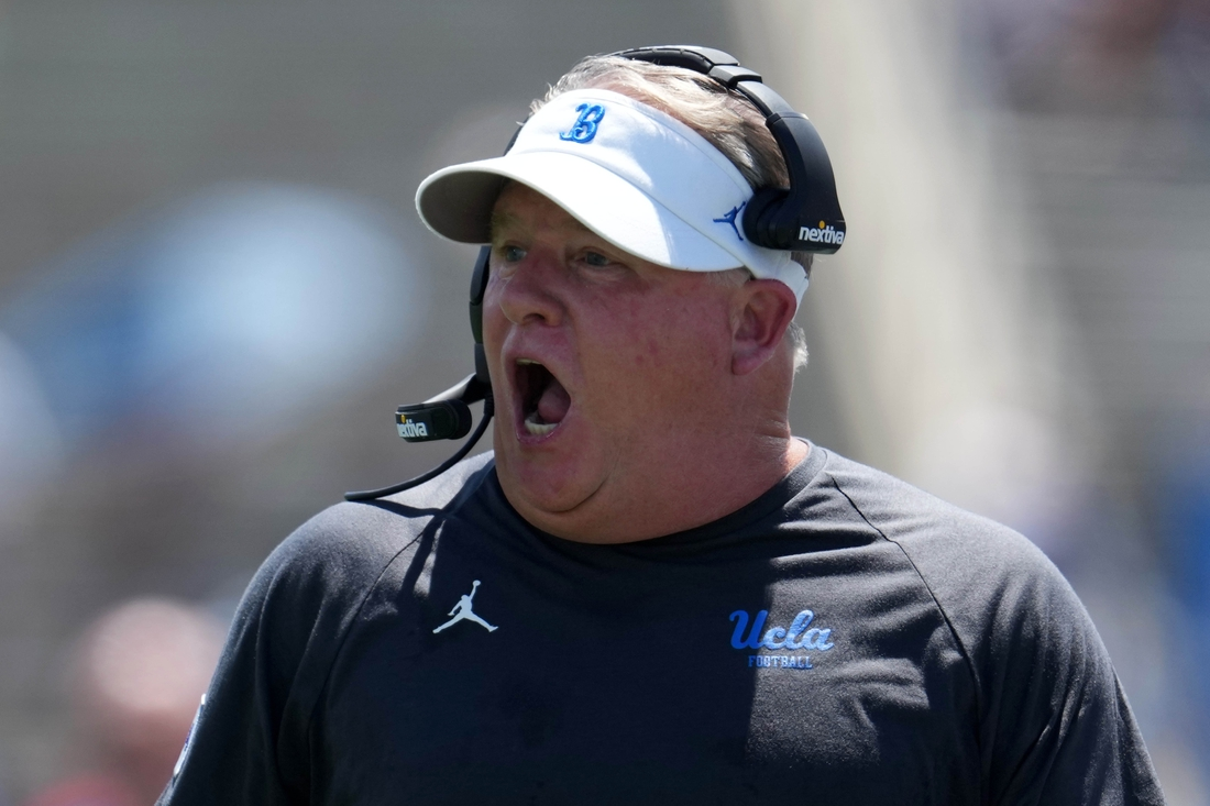 Aug 28, 2021; Pasadena, California, USA; UCLA Bruins head coach Chip Kelly reacts in the first half against the Hawaii Rainbow Warriors at Rose Bowl. Mandatory Credit: Kirby Lee-USA TODAY Sports