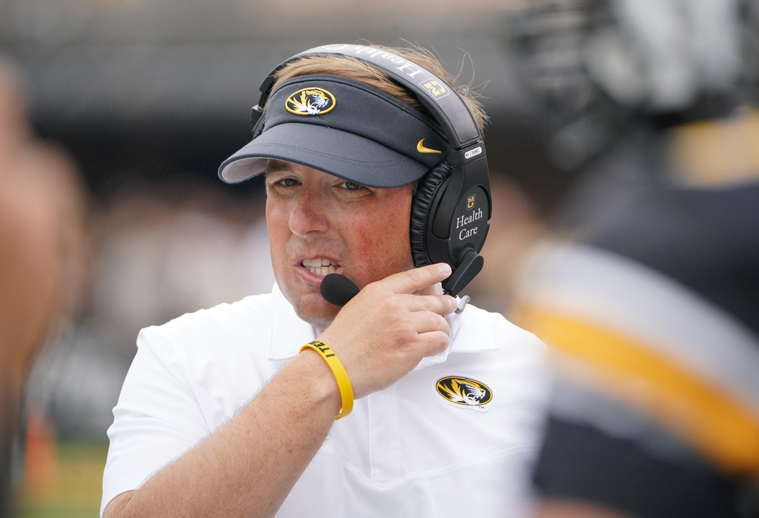 Sep 4, 2021; Columbia, Missouri, USA; Missouri Tigers head coach Eli Drinkwitz on the sidelines against the Central Michigan Chippewas during the first half at Faurot Field at Memorial Stadium. Mandatory Credit: Denny Medley-USA TODAY Sports