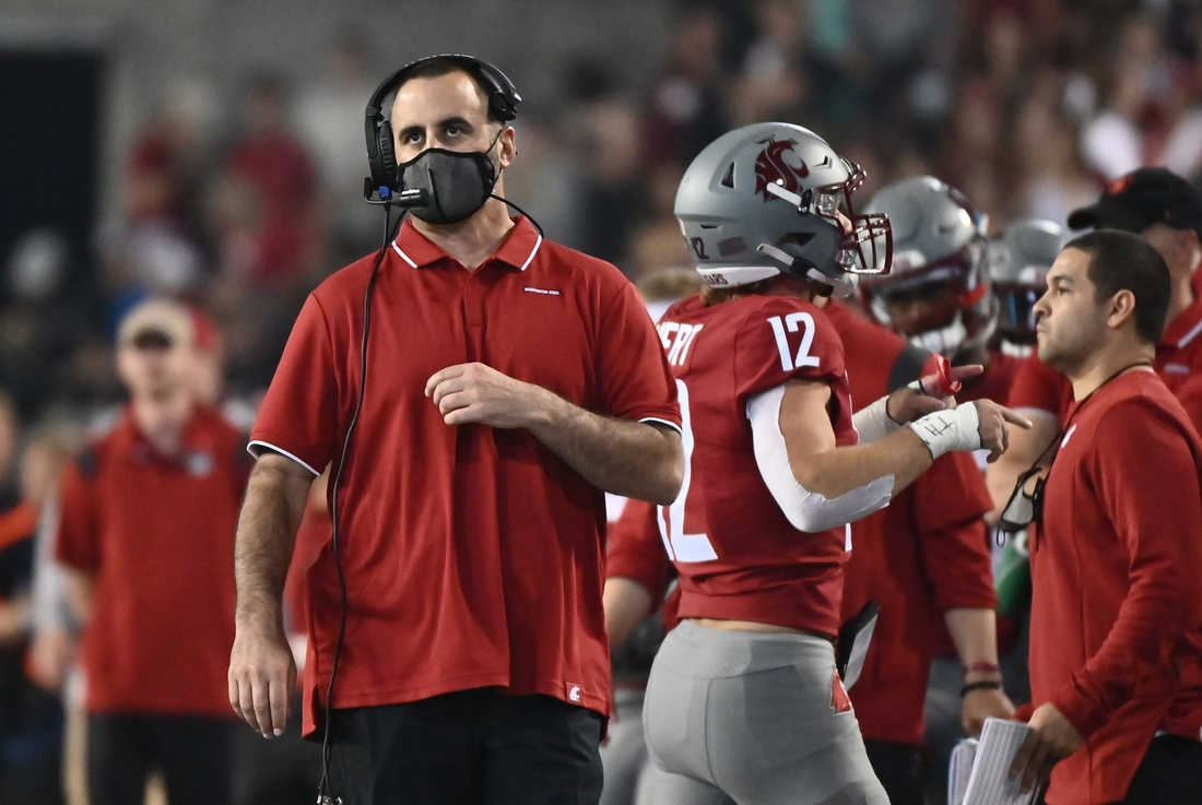 Sep 4, 2021; Pullman, Washington, USA; Washington State Cougars head coach Nick Rolovich looks during a gam e against the Utah State Aggies in the first half at Gesa Field at Martin Stadium. Mandatory Credit: James Snook-USA TODAY Sports