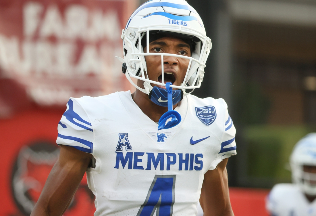 Memphis Tigers wide receiver Calvin Austin III celebrates a touchdown reception against the Arkansas State Red Wolves during their game at Centennial Bank Stadium in Jonesboro, Ark. On Sept. 11, 2021.  Jrca0344