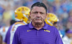 Sep 11, 2021; Baton Rouge, Louisiana, USA;  LSU Tigers head coach Ed Orgeron looks on during the first half against McNeese State Cowboys at Tiger Stadium. Mandatory Credit: Stephen Lew-USA TODAY Sports