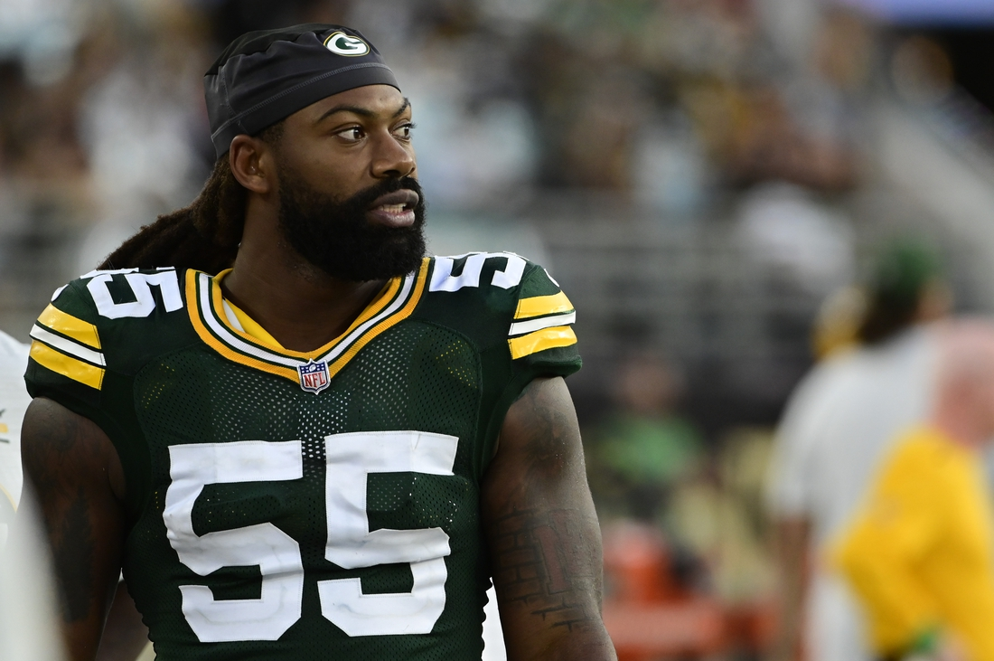 Sep 12, 2021; Jacksonville, Florida, USA;  Green Bay Packers linebacker Za'Darius Smith (55) looks on  the field during the fourth quarter against the New Orleans Saints at TIAA Bank Field. Mandatory Credit: Tommy Gilligan-USA TODAY Sports