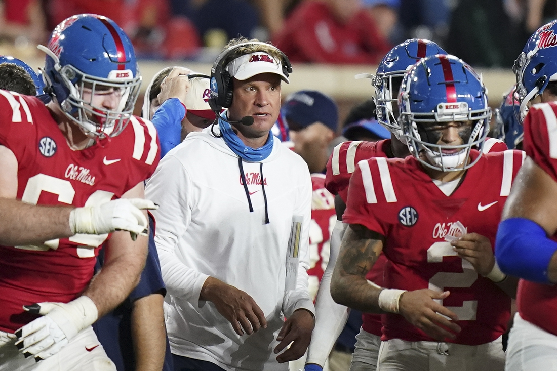 Sep 18, 2021; Oxford, Mississippi, USA; Mississippi Rebels head coach Lane Kiffen looks on from the sideline during their game against the Tulane Green Wave at Vaught-Hemingway Stadium. Mandatory Credit: Marvin Gentry-USA TODAY Sports
