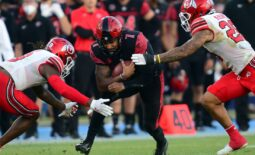 Sep 18, 2021; Carson, California, USA; San Diego State Aztecs quarterback Lucas Johnson (7) runs the ball against the Utah Utes during the second half at Dignity Health Sports Park. Mandatory Credit: Gary A. Vasquez-USA TODAY Sports