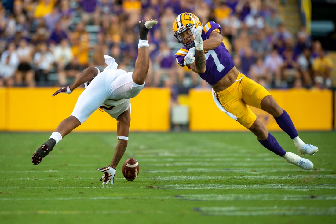Derek Stingley Jr breaks up a pass as The LSU Tigers take on Central Michigan Chippewas in Tiger Stadium. Saturday, Sept. 18, 2021.  Lsu Vs Central Michigan V1 7424