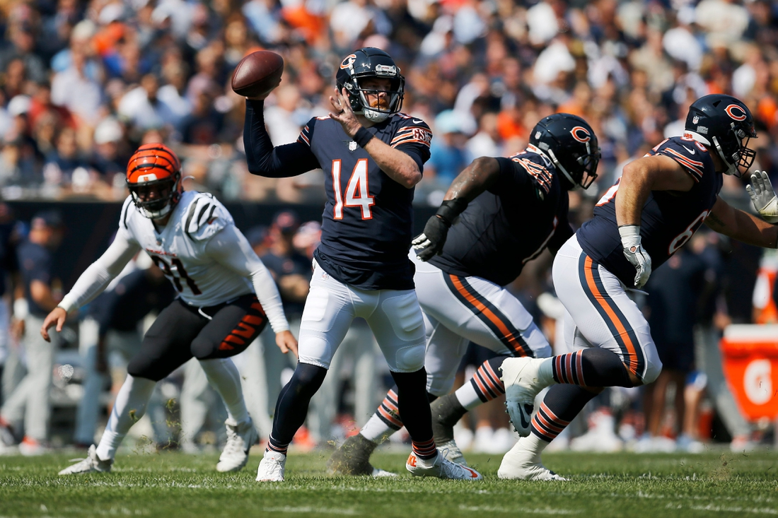Chicago Bears quarterback Andy Dalton (14) throws a pass in the first quarter of the NFL Week 2 game between the Chicago Bears and the Cincinnati Bengals at Soldier Field in Chicago on Sunday, Sept. 19, 2021. The Bears led 7-0 at halftime.  Cincinnati Bengals At Chicago Bears