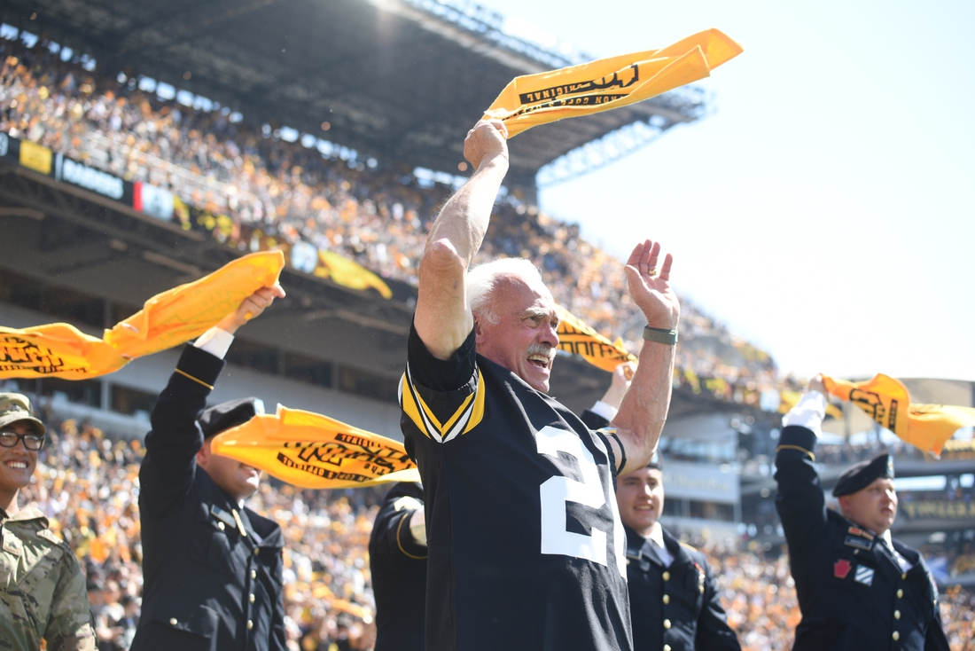 Sep 19, 2021; Pittsburgh, Pennsylvania, USA;  Former Pittsburgh Steelers player Rocky Bleier waves his Terrible Towell before the game against the Las Vegas Raiders at Heinz Field. Mandatory Credit: Philip G. Pavely-USA TODAY Sports
