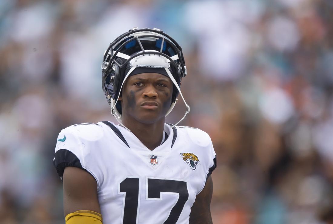 Sep 19, 2021; Jacksonville, Florida, USA; Jacksonville Jaguars wide receiver DJ Chark Jr. (17) against the Denver Broncos at TIAA Bank Field. Mandatory Credit: Mark J. Rebilas-USA TODAY Sports