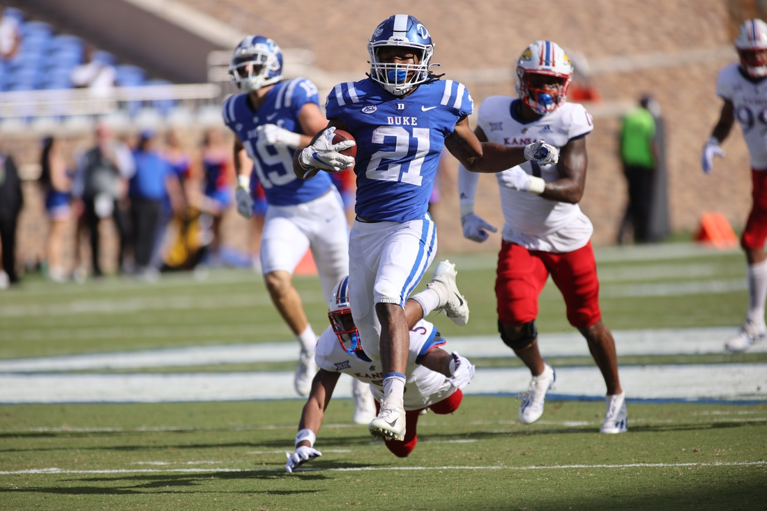 Sep 25, 2021; Durham, North Carolina, USA;  Duke Blue Devils running back Mataeo Durant (21) runs with the ball towards the end zone during the 1st half of the game against the Kansas Jayhawks at Wallace Wade Stadium. Mandatory Credit: Jaylynn Nash-USA TODAY Sports
