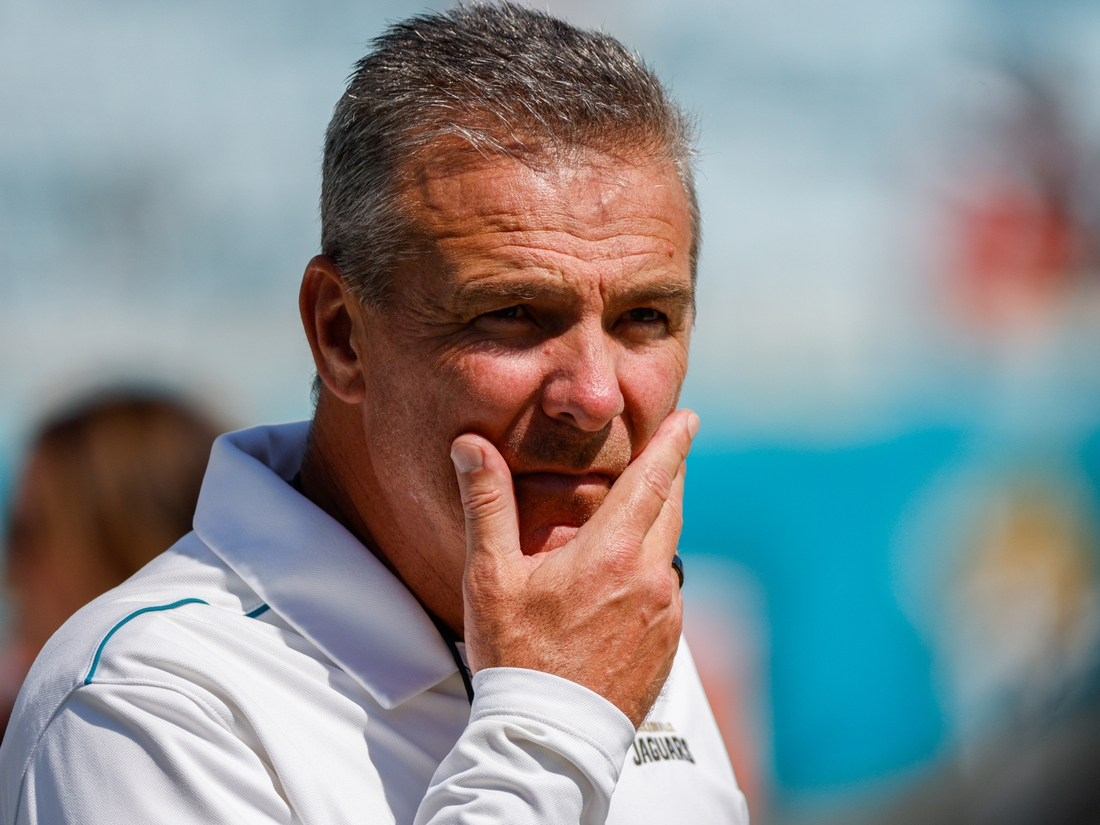 Sep 26, 2021; Jacksonville, Florida, USA; Jacksonville Jaguars head coach Urban Meyer looks on prior to the game against the Arizona Cardinals at TIAA Bank Field. Mandatory Credit: Nathan Ray Seebeck-USA TODAY Sports