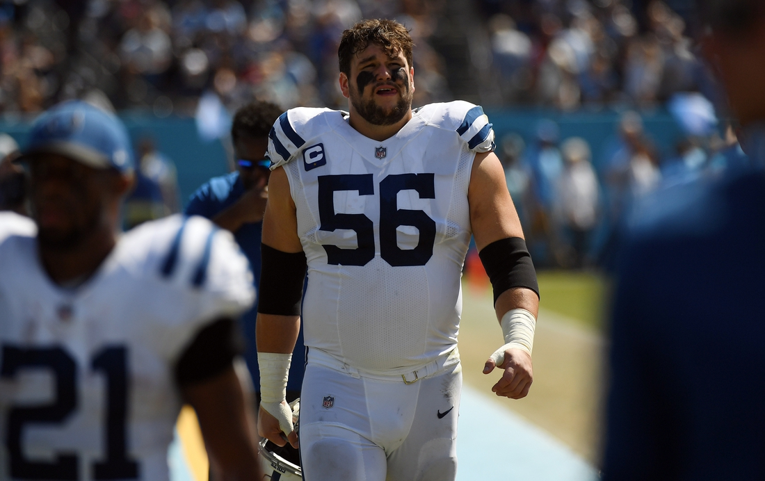 Sep 26, 2021; Nashville, Tennessee, USA; Indianapolis Colts offensive guard Quenton Nelson (56) leaves the field at half against the Tennessee Titans at Nissan Stadium. Mandatory Credit: Christopher Hanewinckel-USA TODAY Sports