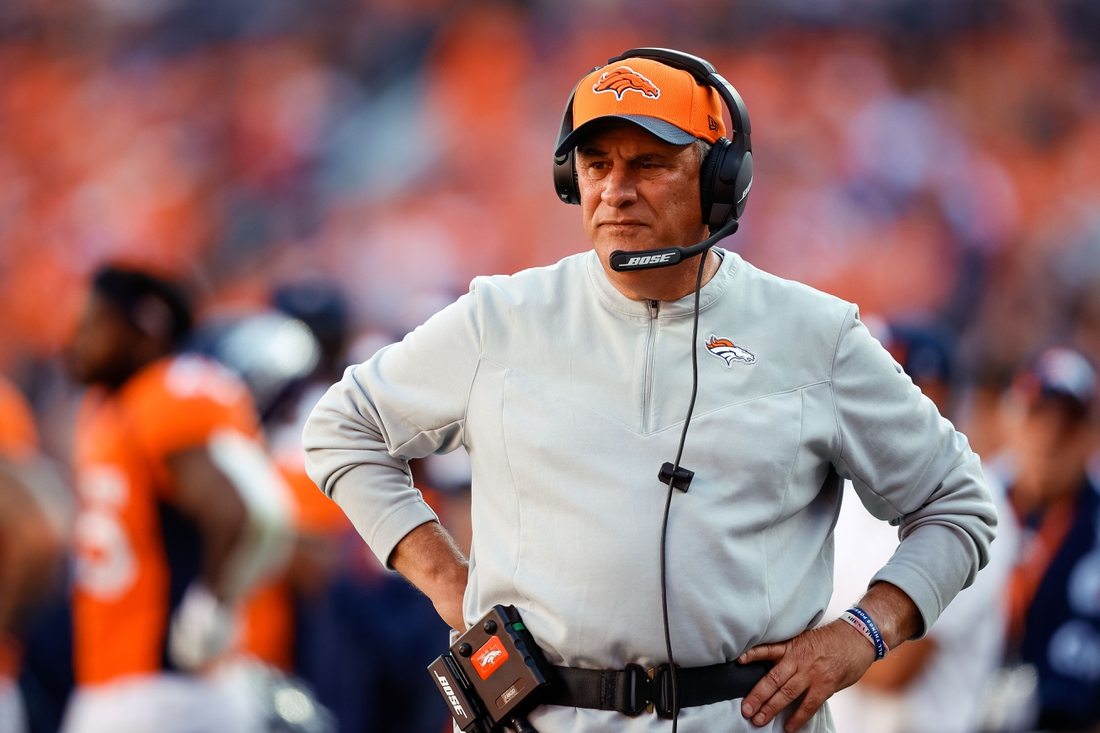 Sep 26, 2021; Denver, Colorado, USA; Denver Broncos head coach Vic Fangio in the fourth quarter against the New York Jets at Empower Field at Mile High. Mandatory Credit: Isaiah J. Downing-USA TODAY Sports