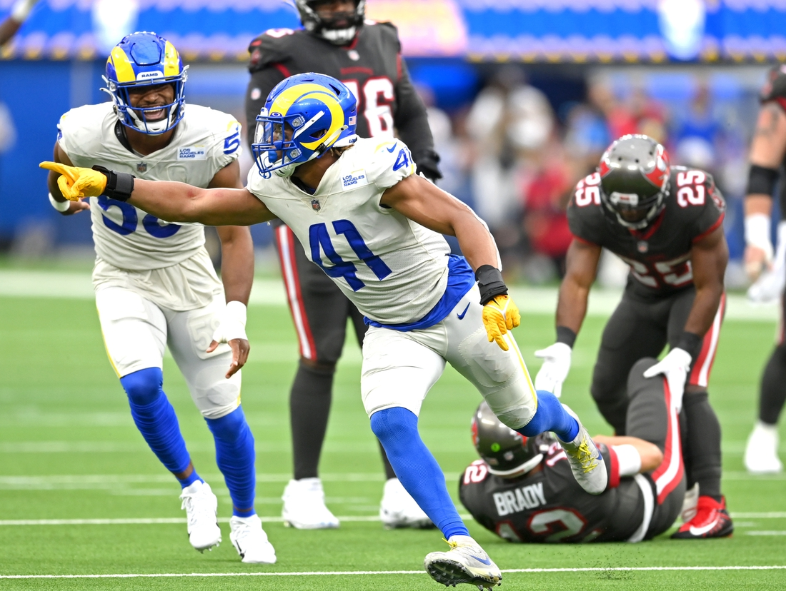 Sep 26, 2021; Inglewood, California, USA;  Los Angeles Rams inside linebacker Kenny Young (41) reacts after a sack of Tampa Bay Buccaneers quarterback Tom Brady (12) in the third quarter of the game at SoFi Stadium. Mandatory Credit: Jayne Kamin-Oncea-USA TODAY Sports