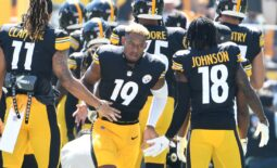 Sep 19, 2021; Pittsburgh, Pennsylvania, USA;  Pittsburgh Steelers wide receiver JuJu Smith-Schuster is greeted by his teammates as they take the field to play the Las Vegas Raiders  at Heinz Field. The Raiders won the game 26-17. Mandatory Credit: Philip G. Pavely-USA TODAY Sports