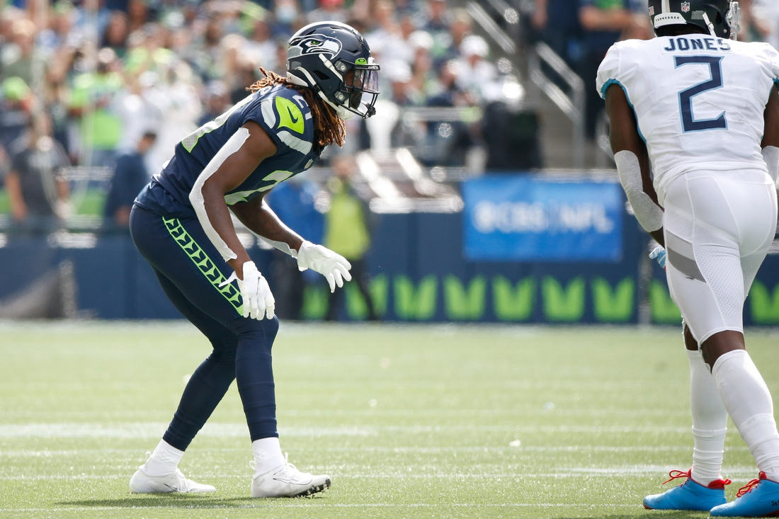Sep 19, 2021; Seattle, Washington, USA; Seattle Seahawks cornerback Tre Flowers (21) waits for a snap against the Tennessee Titans during the second quarter at Lumen Field. Mandatory Credit: Joe Nicholson-USA TODAY Sports