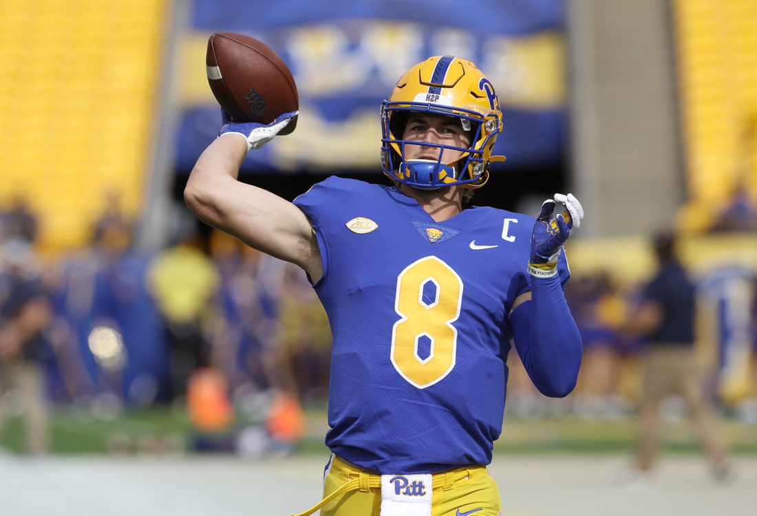 Sep 25, 2021; Pittsburgh, Pennsylvania, USA;  Pittsburgh Panthers quarterback Kenny Pickett (8) warms up before the game against the New Hampshire Wildcats at Heinz Field. Mandatory Credit: Charles LeClaire-USA TODAY Sports