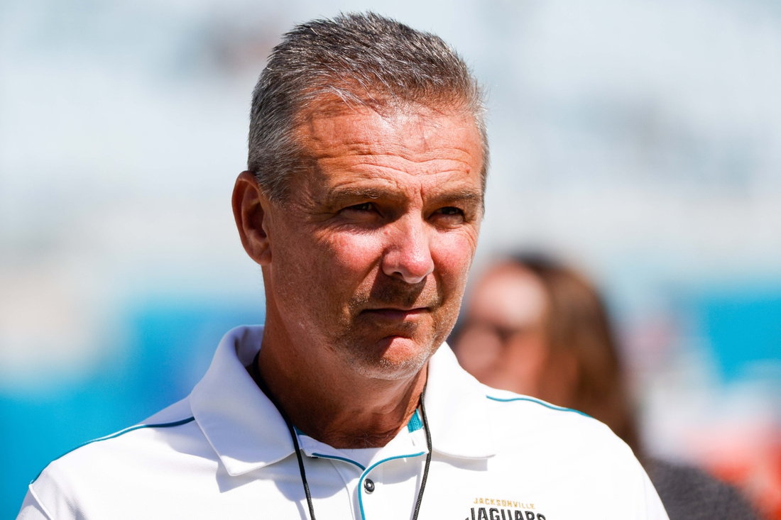 Sep 26, 2021; Jacksonville, Florida, USA;  Jacksonville Jaguars head coach Urban Meyer looks on prior to the watery of a game against the Arizona Cardinals at TIAA Bank Field. Mandatory Credit: Nathan Ray Seebeck-USA TODAY Sports