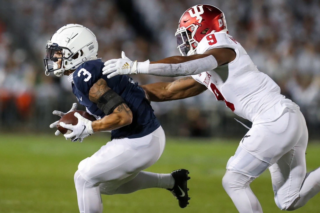 Oct 2, 2021; University Park, Pennsylvania, USA; Penn State Nittany Lions wide receiver Parker Washington (3) makes a catch against the Indiana Hoosiers during the first quarter at Beaver Stadium. Mandatory Credit: Matthew OHaren-USA TODAY Sports