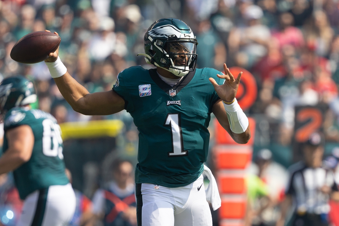 Oct 3, 2021; Philadelphia, Pennsylvania, USA; Philadelphia Eagles quarterback Jalen Hurts (1) passes the ball against the Kansas City Chiefs during the first quarter at Lincoln Financial Field. Mandatory Credit: Bill Streicher-USA TODAY Sports