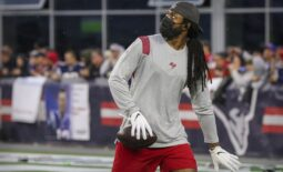 Oct 3, 2021; Foxboro, MA, USA; Tampa Bay Buccaneers cornerback Richard Sherman warms up before the game against the New England Patriots at Gillette Stadium.  Mandatory Credit: Paul Rutherford-USA TODAY Sports