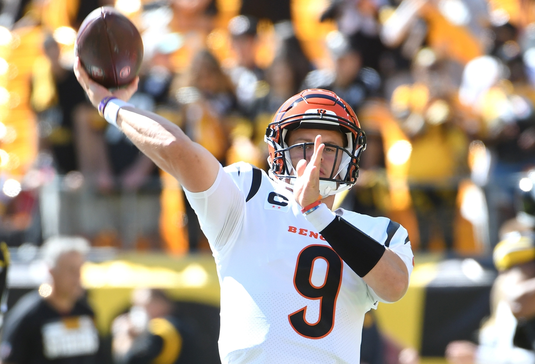 Sep 19, 2021; Pittsburgh, Pennsylvania, USA;  Cincinnati Bengals quarterback Joe Burrow (9) warms-up before playing the Pittsburgh Steelers at Heinz Field. Mandatory Credit: Philip G. Pavely-USA TODAY Sports