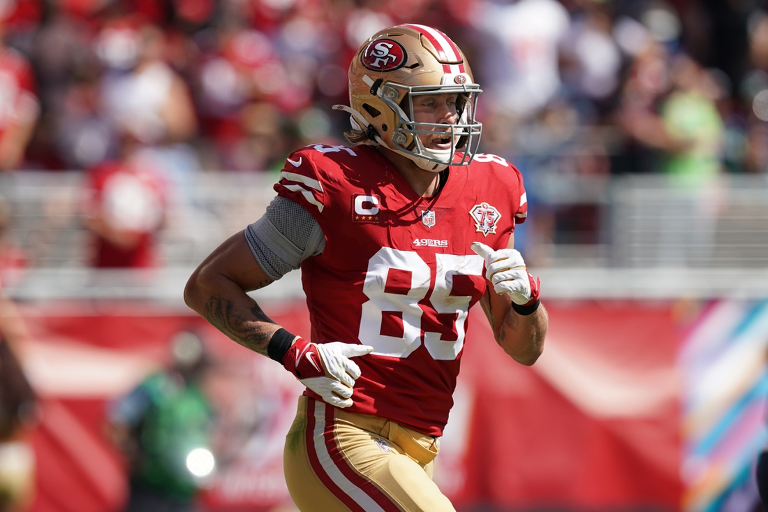 Oct 3, 2021; Santa Clara, California, USA; San Francisco 49ers tight end George Kittle (85) jogs on the field during the first quarter against the Seattle Seahawks at Levi's Stadium. Mandatory Credit: Darren Yamashita-USA TODAY Sports