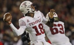 Oct 8, 2021; Cincinnati, Ohio, USA; Temple Owls quarterback D'Wan Mathis (18) throws a pass against the Cincinnati Bearcats in the first half at Nippert Stadium. Mandatory Credit: Katie Stratman-USA TODAY Sports