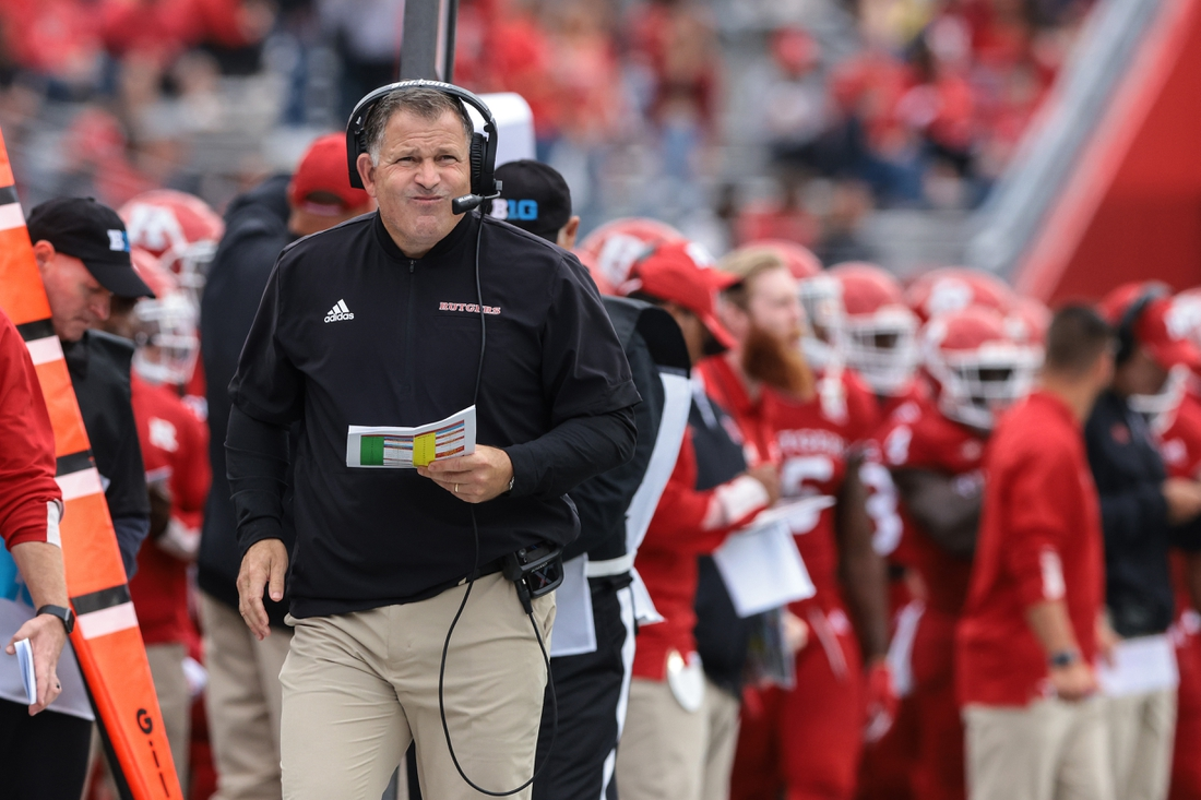 Oct 9, 2021; Piscataway, New Jersey, USA; Rutgers Scarlet Knights head coach Greg Schiano watches game action during the second half against the Michigan State Spartans at SHI Stadium. Mandatory Credit: Vincent Carchietta-USA TODAY Sports