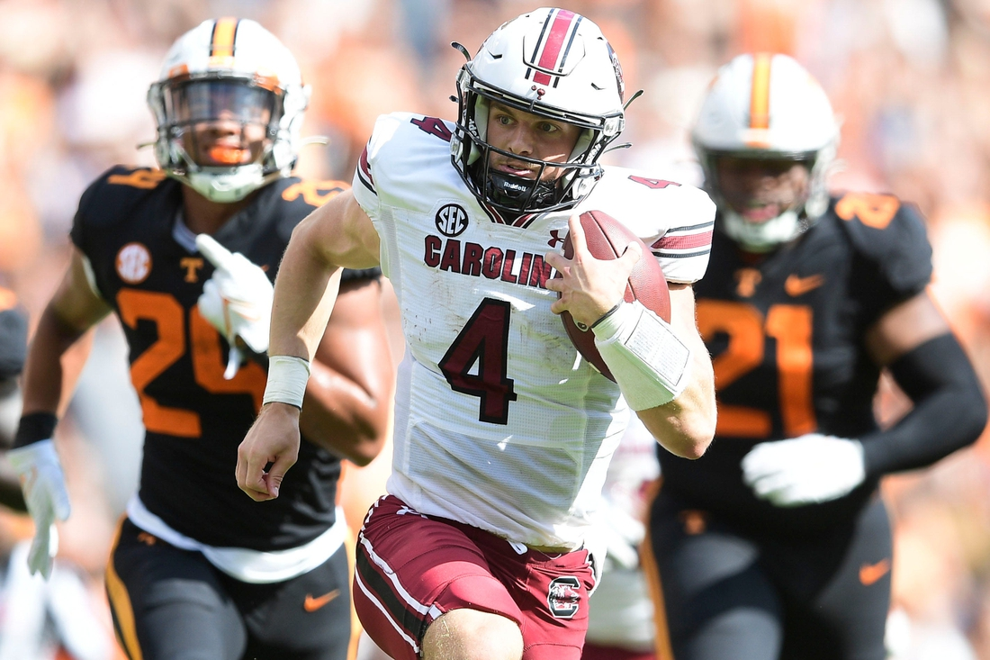 South Carolina quarterback Luke Doty (4) runs the ball down the field during an NCAA college football game between the Tennessee Volunteers and the South Carolina Gamecocks in Knoxville, Tenn. on Saturday, Oct. 9, 2021.  Kns Tennessee South Carolina Football
