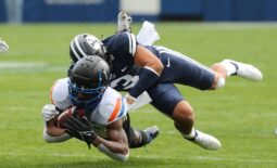 Oct 9, 2021; Provo, Utah, USA; Boise State Broncos wide receiver Octavius Evans (1) is tackled by Brigham Young Cougars linebacker Chaz Ah You (3) during the first quarter at LaVell Edwards Stadium. Mandatory Credit: Rob Gray-USA TODAY Sports