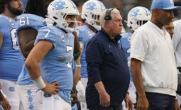 Oct 9, 2021; Chapel Hill, North Carolina, USA;  North Carolina Tar Heels head coach  Mack Brown looks on from with quarterback Sam Howell (7) the sidelines against the Florida State Seminoles at Kenan Memorial Stadium. Mandatory Credit: James Guillory-USA TODAY Sports