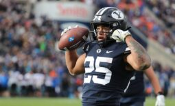 Oct 9, 2021; Provo, Utah, USA; Brigham Young Cougars running back Tyler Allgeier (25) reacts to scoring a touchdown in the fourth quarter at LaVell Edwards Stadium. Mandatory Credit: Rob Gray-USA TODAY Sports