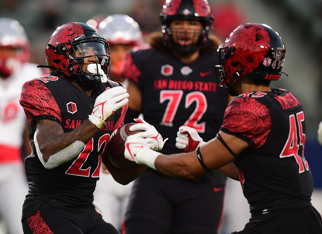 Oct 9, 2021; Carson, California, USA; San Diego State Aztecs running back Greg Bell (22) celebrates with wide receiver Jesse Matthews (45) his touchdown scored against the New Mexico Lobos during the first half at Dignity Health Sports Park. Mandatory Credit: Gary A. Vasquez-USA TODAY Sports