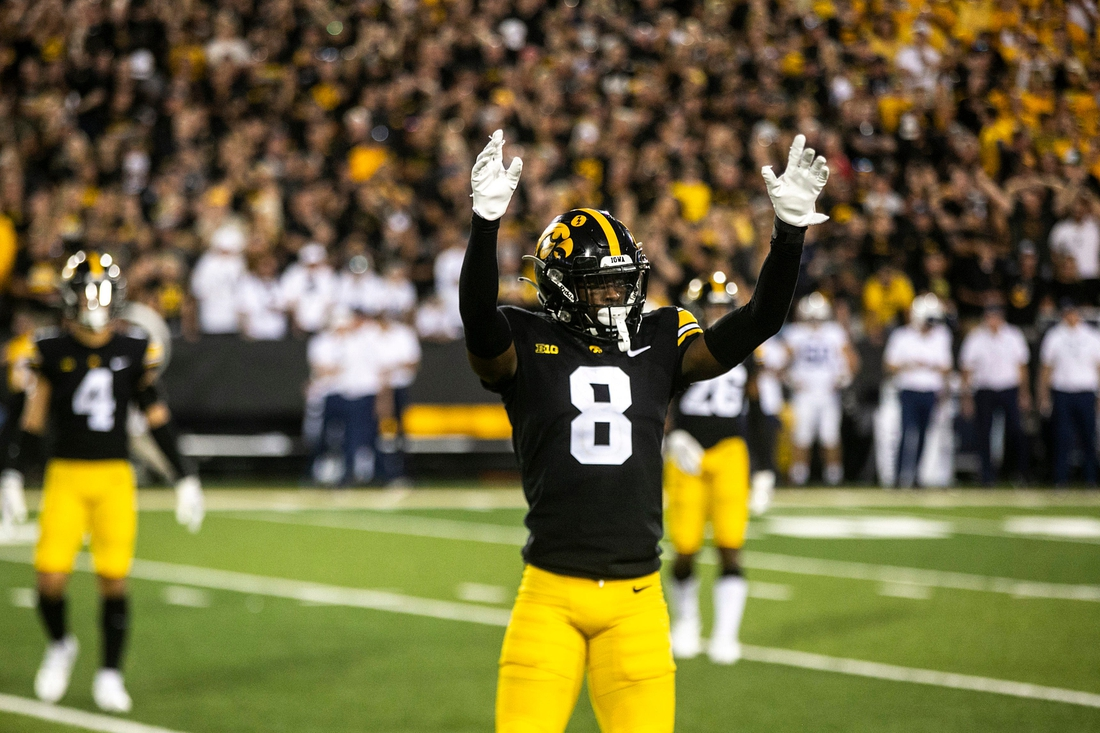 Iowa defensive back Matt Hankins (8) reacts during a NCAA Big Ten Conference football game against Penn State, Saturday, Oct. 9, 2021, at Kinnick Stadium in Iowa City, Iowa. Iowa beat Penn State, 23-20.  211009 Penn St Iowa Fb 080 Jpg