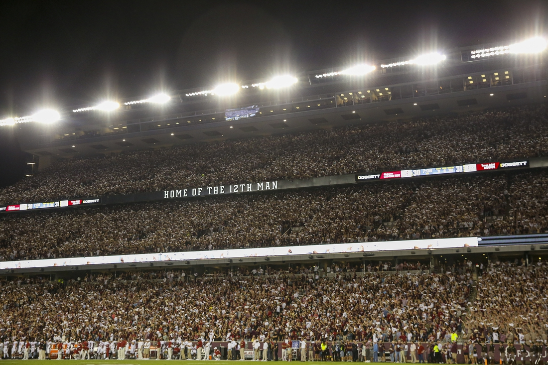 Oct 9, 2021; College Station, Texas, USA; Fans wave their towels as the Texas A&M Aggies play the Alabama Crimson Tide in second half at Kyle Field. Mandatory Credit: Thomas Shea-USA TODAY Sports