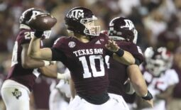 Oct 9, 2021; College Station, Texas, USA;  Texas A&M quarterback Zach Calzada (10) throws a pass against Alabama at Kyle Field. Texas A&M defeated Alabama 41-38 on a field goal as time expired. Mandatory Credit: Gary Cosby Jr.-USA TODAY Sports