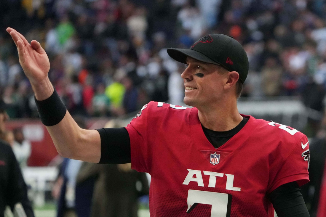 Oct 10, 2021; London, England, United Kingdom; Atlanta Falcons quarterback Matt Ryan (2) reacts after an NFL International Series game against the New York Jets at Tottenham Hotspur Stadium. The Falcons defeated the Jets 27-20. Mandatory Credit: Kirby Lee-USA TODAY Sports