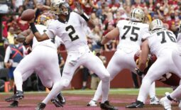 Oct 10, 2021; Landover, Maryland, USA; New Orleans Saints quarterback Jameis Winston (2) passes the ball from the end zone against the Washington Football Team during the second quarter at FedExField. Mandatory Credit: Geoff Burke-USA TODAY Sports