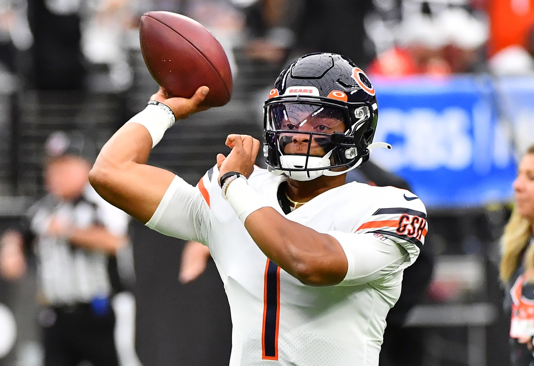 Oct 10, 2021; Paradise, Nevada, USA;  Chicago Bears quarterback Justin Fields (1) warms up before a game against the Las Vegas Raiders at Allegiant Stadium. Mandatory Credit: Stephen R. Sylvanie-USA TODAY Sports