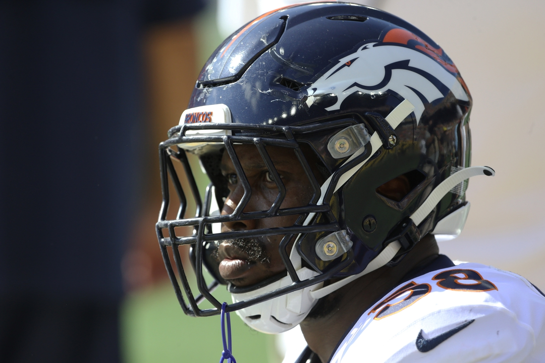 Oct 10, 2021; Pittsburgh, Pennsylvania, USA;  Denver Broncos outside linebacker Von Miller (58) looks on from the sidelines against the Pittsburgh Steelers during the second quarter at Heinz Field. Mandatory Credit: Charles LeClaire-USA TODAY Sports