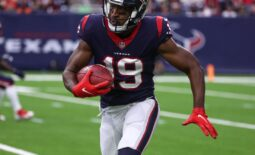 Oct 10, 2021; Houston, Texas, USA; Houston Texans wide receiver Andre Roberts (19) runs with the ball during the game against the New England Patriots at NRG Stadium. Mandatory Credit: Troy Taormina-USA TODAY Sports