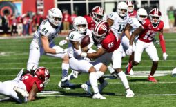 Oct 16, 2021; Bloomington, Indiana, USA; Michigan State Spartans wide receiver Jalen Nailor (8) is tackled by Indiana Hoosiers linebacker Aaron Casey (46) during the first quarter at Memorial Stadium. Mandatory Credit: Marc Lebryk-USA TODAY Sports