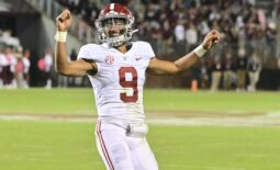 Oct 16, 2021; Starkville, Mississippi, USA; Alabama Crimson Tide quarterback Bryce Young (9) reacts after a touchdown against the Mississippi State Bulldogs during the fourth quarter at Davis Wade Stadium at Scott Field. Mandatory Credit: Matt Bush-USA TODAY Sports